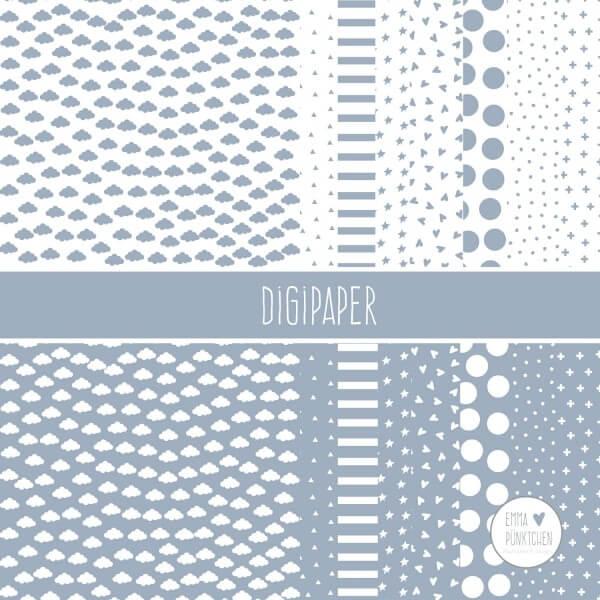 emmapünktchen ® - DigiPaper graublau