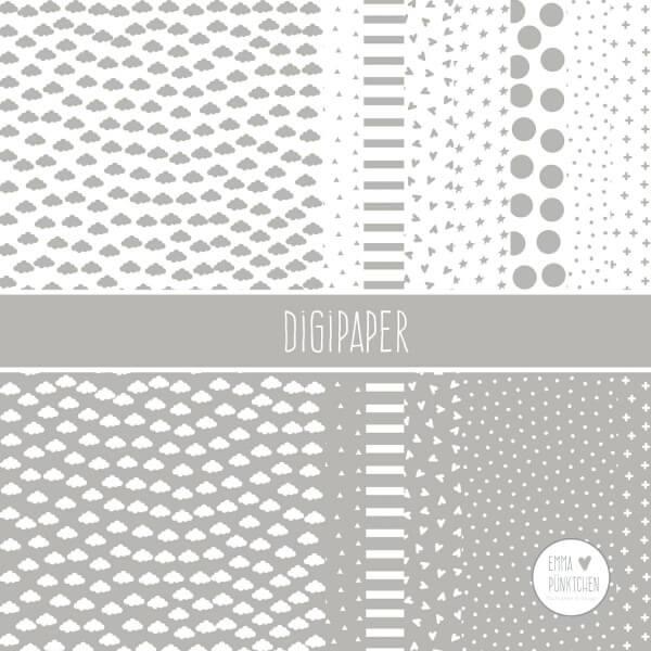 emmapünktchen ® - DigiPaper grau