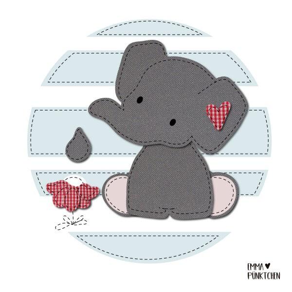 emmapünktchen ® - elmar elefant applikation