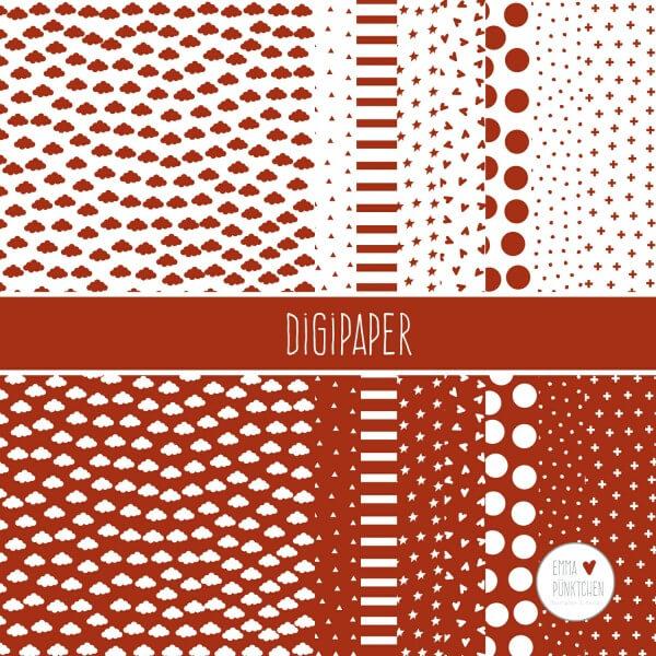 emmapünktchen ® - DigiPaper rot