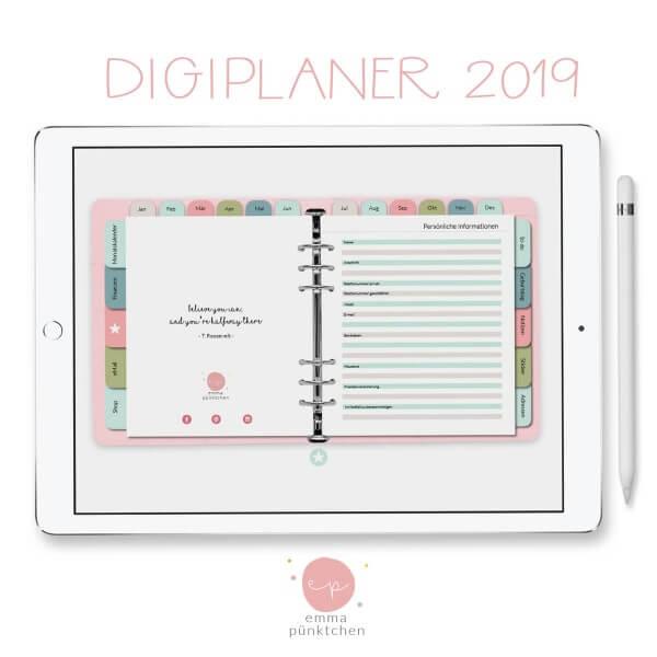 emmapünktchen ® - DigiPlaner ROSA 2019