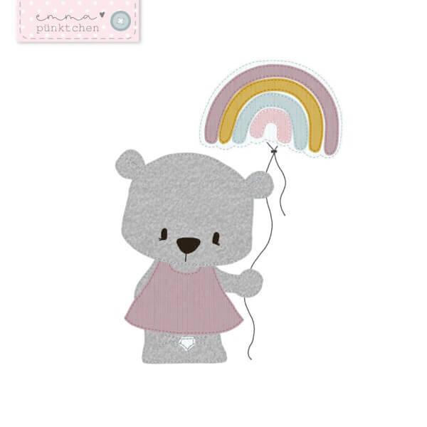 emmapünktchen ® - stickdatei regenbogenbär 16 x 26