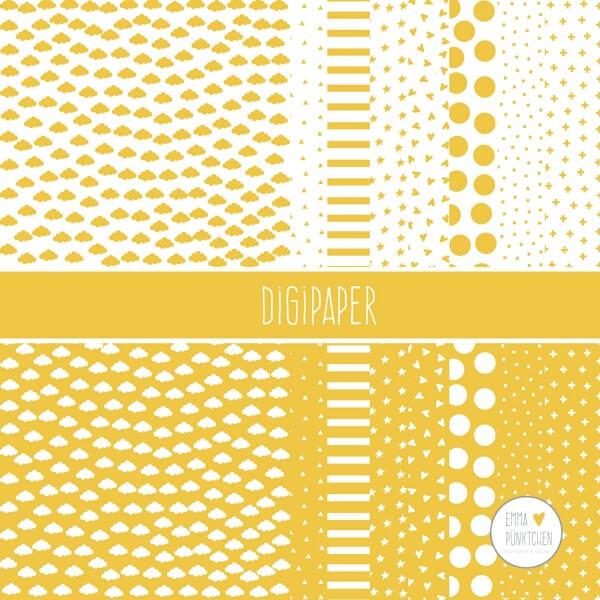 emmapünktchen ® - DigiPaper gelb